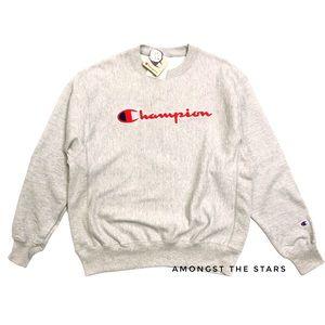 Champion Reverse Weave Chenille Logo Grey Crewneck